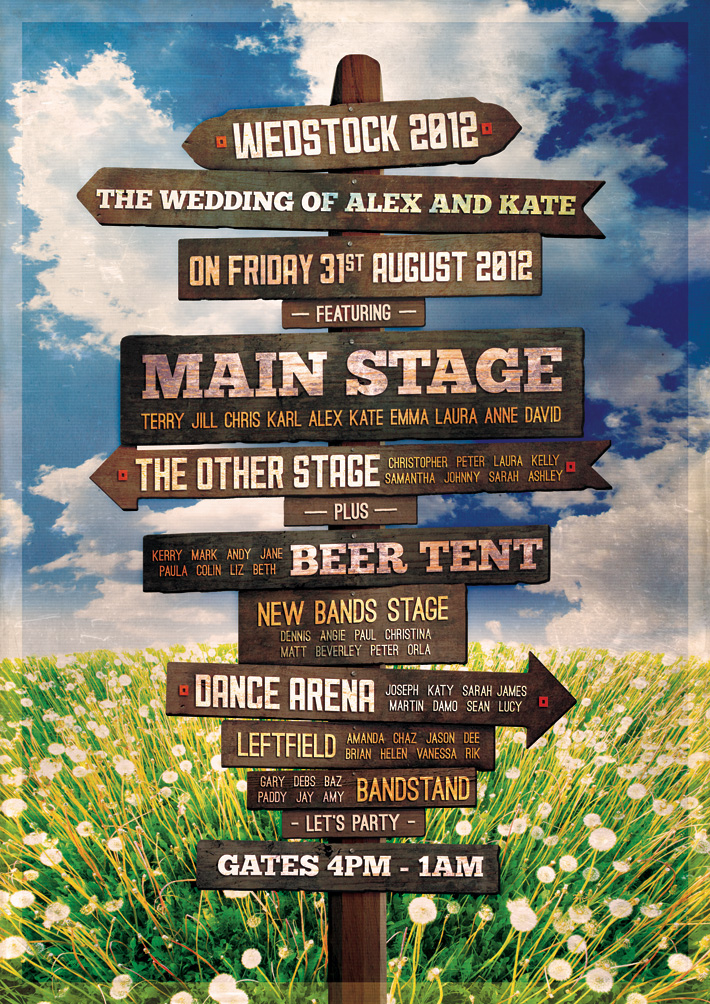 festival signpost themed wedding table and seating plan