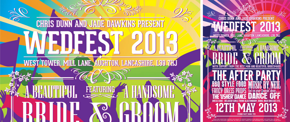 wedfest festival theme wedding stationery