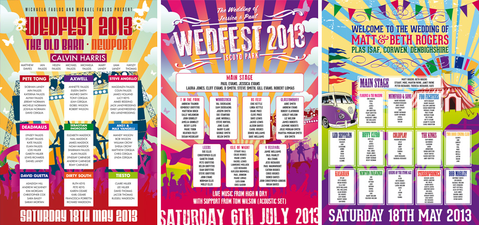 festival poster wedding seating plans
