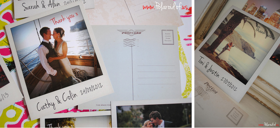 Personalised Polaroid wedding thank you notes