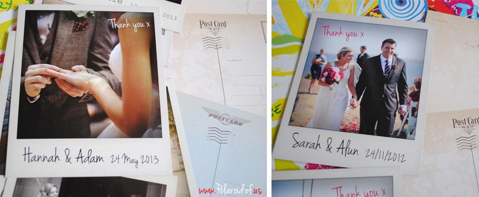 wedding Polaroid thank you postcards
